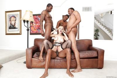 Dirty white slut Sarah Vandella banging lots of big black ramrod