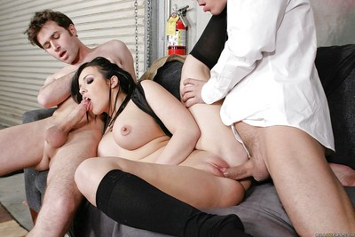 Busty cheery Emma Heart is into a gangbang in a reality story