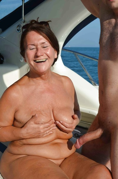 Grandpa Tinny Rados is getting getting cumshot right on the boat