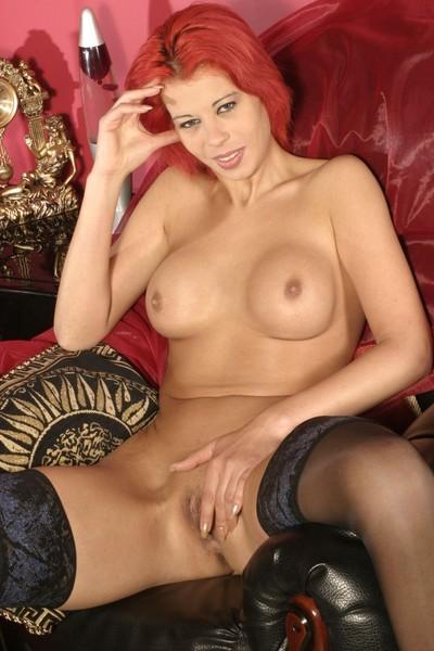 Emo redhead girlfriend posing in her stockings