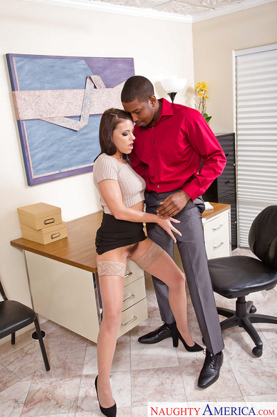 Hose clothes wife Adriana Chechik making interracial pornstar debut in office