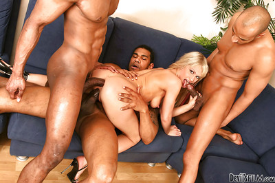 Interracial fuckfest with excellent blonde Anita Hengher and blacks