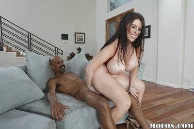 Daphne Rosen gives a titjob and purchases her holes drilled by a big black cock