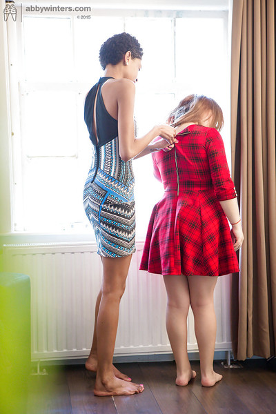 Amateur lesbians Luna and Maylin helping per other get dressed