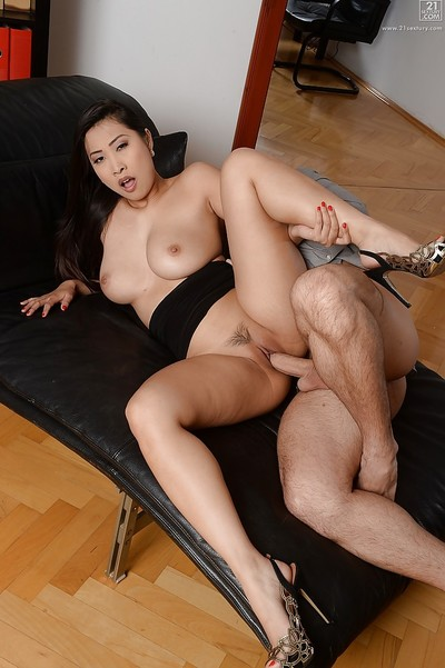 Beautiful Asian secretary Sharon Lee getting fucked by long cock at work