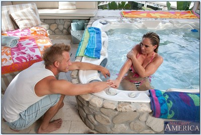 Mature gal with tremendous breasts Tyler Faith banged at the pool