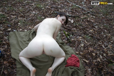 Slippy amateur with pale skin and shaved cooter posing bare outdoor