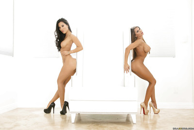 Delightful vixens on high heels Madison Ivy & Asa Akira posing together