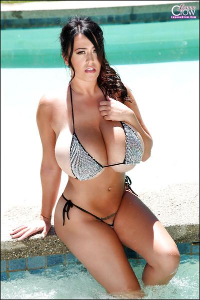Bikini sample with gigantic tits Leanne Crow shows her perfect wazoo