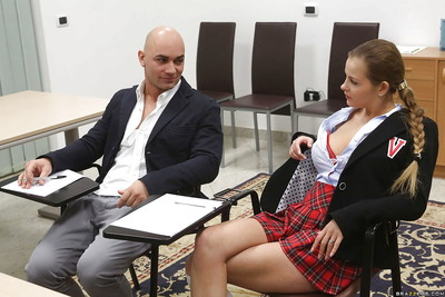 Busty schoolgirl Candy Alexa rides a cock and gives a wonderful blowjob