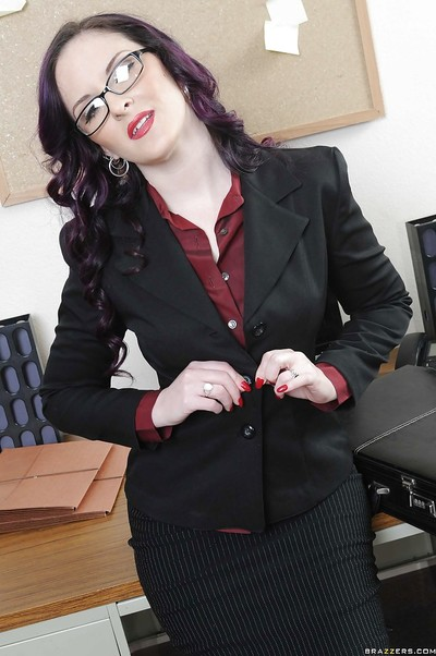 Office MILF in glasses Caroline Pierce showing skinhead pussy at plough