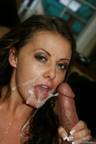 Penny Flame gives a blowjob and receives a mammoth sticky jizz flow