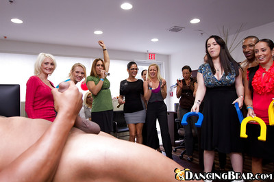 Non As mother gave birth ladies are having fun on an interracial party at their office