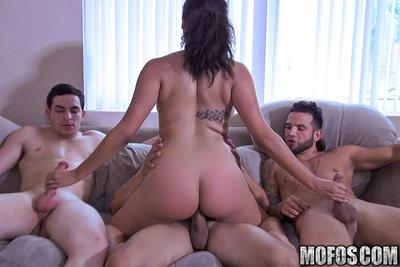 Hanging out alone with three dudes, theres no doubt Julie Kay was expecting to get drilled by them all. Floozy took her shirt off, and let those lucky champs feel up her immense tits. Then this girl took all three cocks, and let them film the nasty gangba