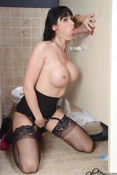 Perspired milf with extremely massive tits Eva Karera sucks massive one in restroom