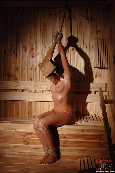Rope bound BDSM fetish illustration Viktoria Diamond struggles in sauna