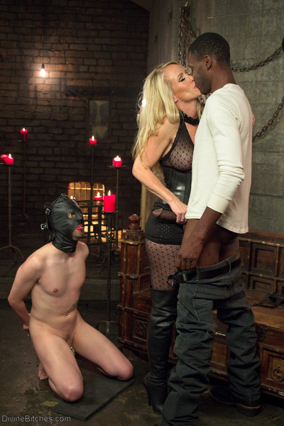 Mrs. s is back in a brutal interracial cuckolding domming her slave, jay wimp! j
