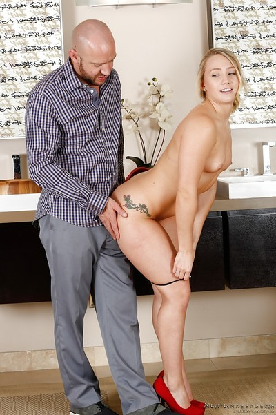 First class massage in the bathroom from sexy princess AJ Applegate