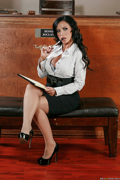 Big boobed Latina Nikki Benz strips down to pantyhose and heels
