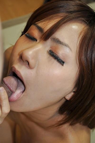 Asian pretty Nozomi Kahara gives head and enjoys corporeal fucking