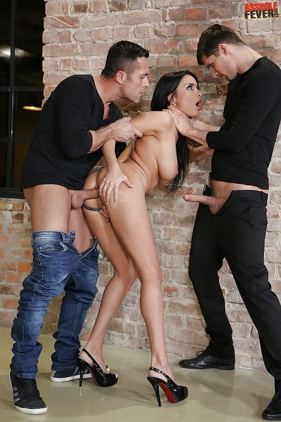 Excited guys use elegant European babe Anissa Kate in an MMF group fuck