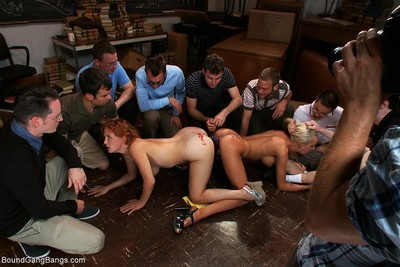 Twofold babes receive tied up and fucked by group of 9 guys!