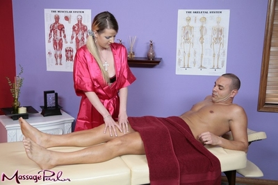 1st class massage done by a horny beauty Anita Blue in pink clothing