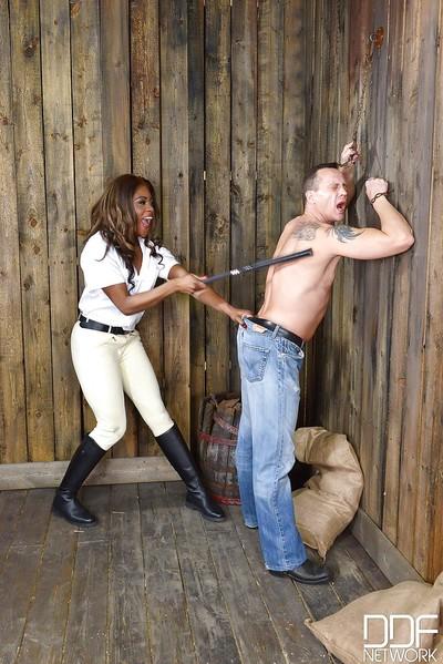 Kinky Ebony female-dominant Maria Ryder enjoying some fetish fueled BDSM play