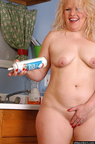 Blonde fatty and her shaved cunt gets freaky with signal whip cream in kitchen
