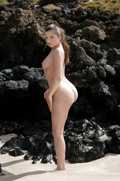 Alluring pornstar babe showing off big ass and fascinating titties outdoor