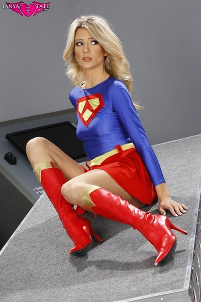 Amanda Tate Sexy Cosplay Strip Tease From Supergirl Inspired Costume