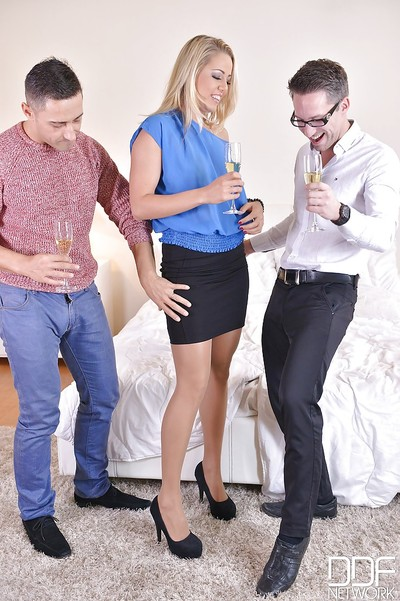 Blonde Euro chick Christen Courtney enjoying DP copulation in MMF threesome