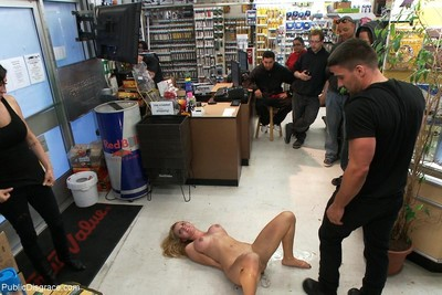 18yo amateur teen gets united and bonked in a real public store
