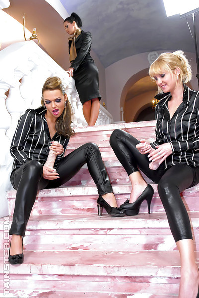 Hot enormously clothed lesbians are into impure hardcore action with a huge phallus exchanger