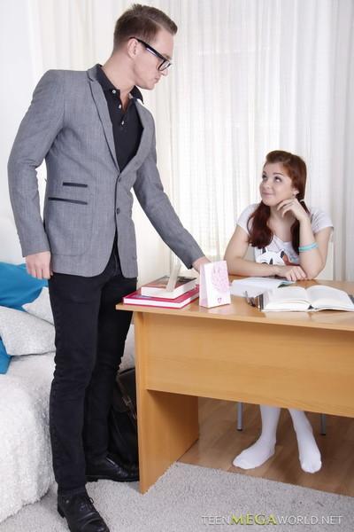 Horny educator bangs his dirty redheaded student