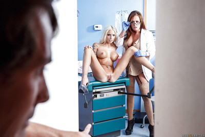 Dualistic trendy nurses Rikki Six and Tory Lane caught lucky patient exact day