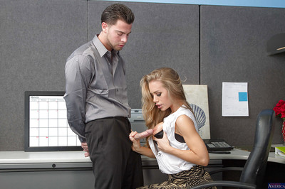 Office beauty Nicole Aniston is being drilled in her blameless face