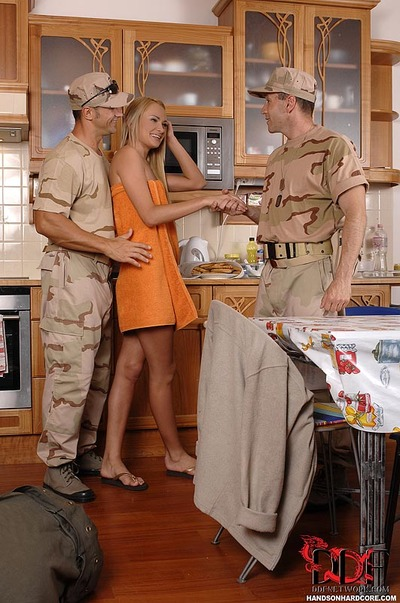 Blonde Euro cunt Ivana Sugar taking DP from chaps in military uniforms