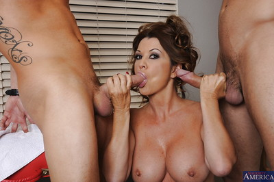 Salacious MILF with largest round love bubbles has some getting joy with two stiff cocks