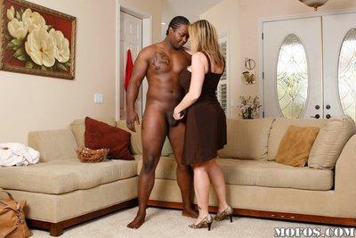 Vagina lick and fellatio during interracial milf fucking with Sara Jay