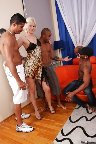 Interracial hardcore groupie with awesome lascivious fairy-haired Kim A