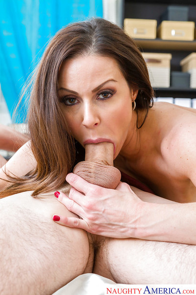 Boobsy and stocking clad dark brown cougar Kendra Lust taking cum on face
