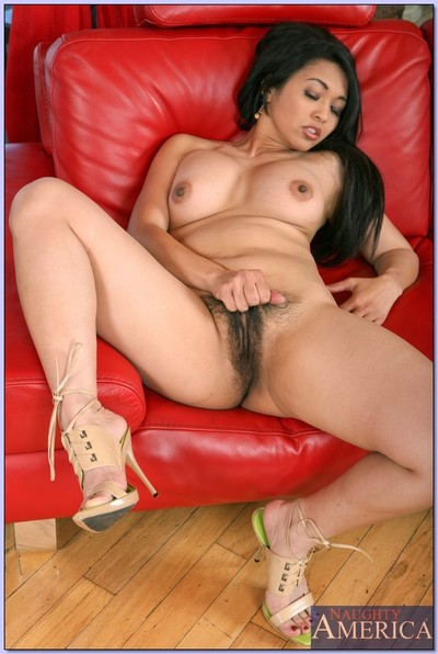 Japanese wife Mika Tan stripping from lingerie and caressing hairy cunt