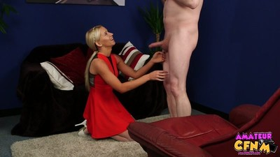Charming Blonde Kiara is visiting her friend but when she arrives she exclusively finds her nerdy brother at home. On top of that she finds him looking at a lingerie catalogue. Its not long before she discovers that guy is a virgin and she teases him sayi