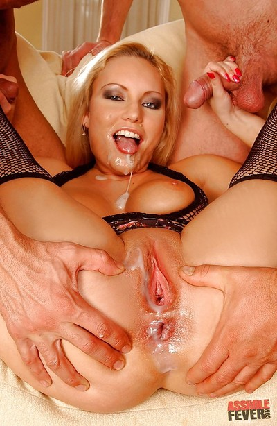 Busty babe is into groupsex with extreme cock sucking and buttfucking