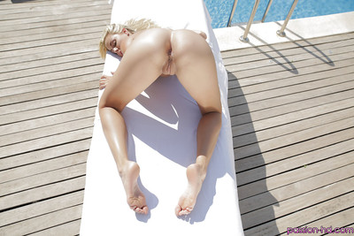 Blonde babe Christen Courtney showing off watertight anus and smooth on top twat outside