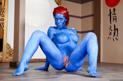 Redhead fetish babe Nicole Aniston flaunting big without clothes tits in body paint