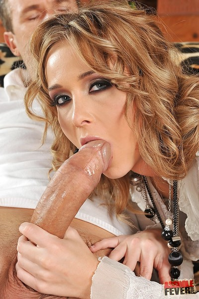 Lovesome European doxy Kitty Cat plugs her ass and sucks huge dick