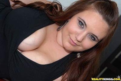 Adolescent fatty Lexi Summers fondling her juggs and spreading twat