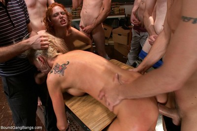 Sexy babe gets fixed firmly up, punished and fucked by group of chaps